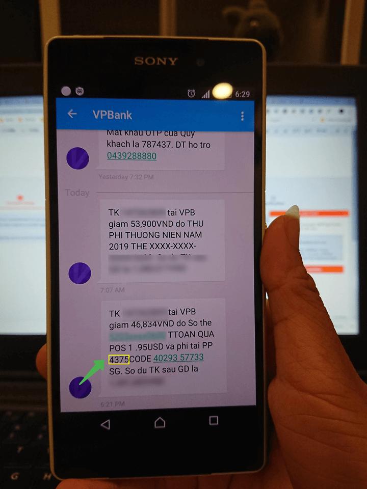 Code Paypal gửi về tin nhắn điện thoại