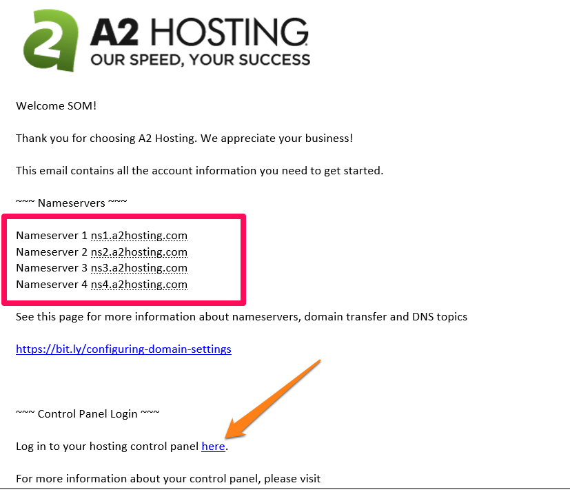 a2hosting nameservers