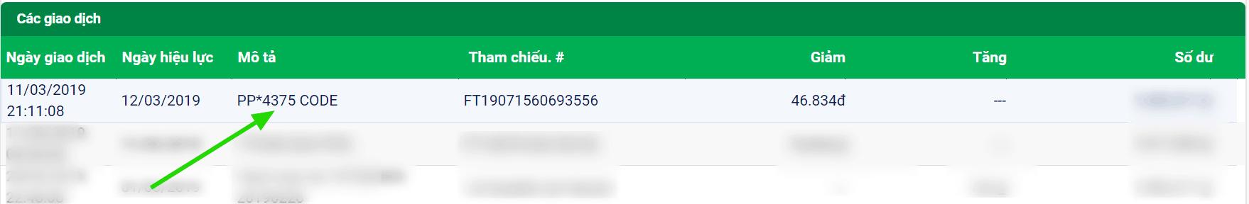 Mã code Paypal lịch sử ngân hàng online