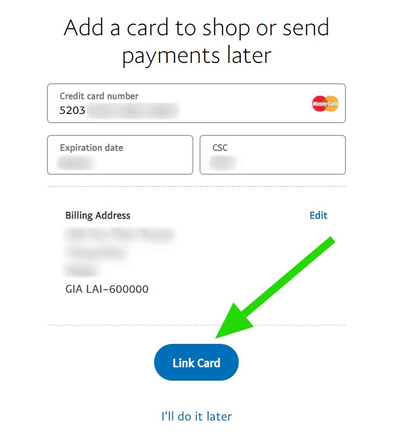Điền thông tin thẻ Visa/Mastercard vào tài khoản Paypal
