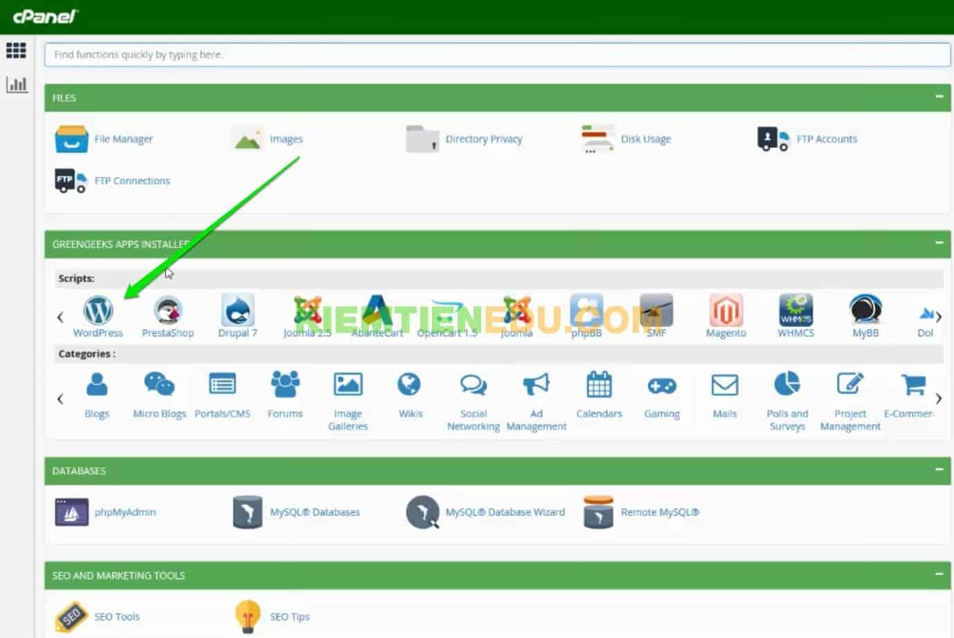 cPannel GreenGeeks hosting