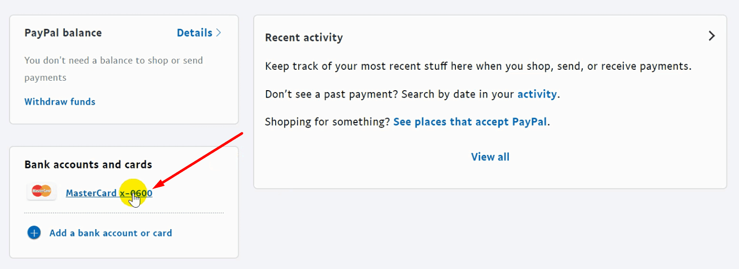 Chọn thẻ Visa trong Paypal