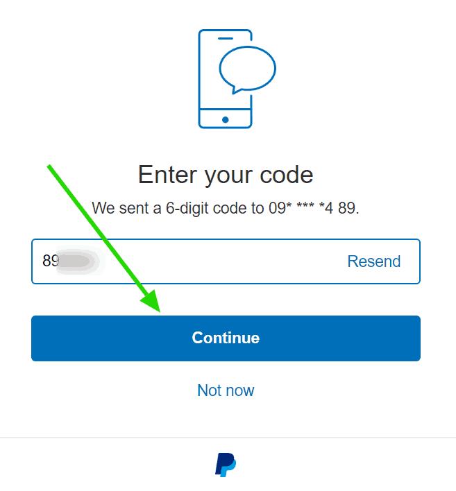 Mã xác nhận số điện thoại Paypal