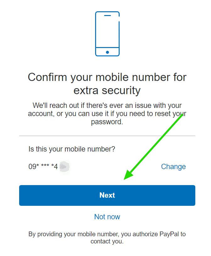 Xác thực số điện thoại Paypal