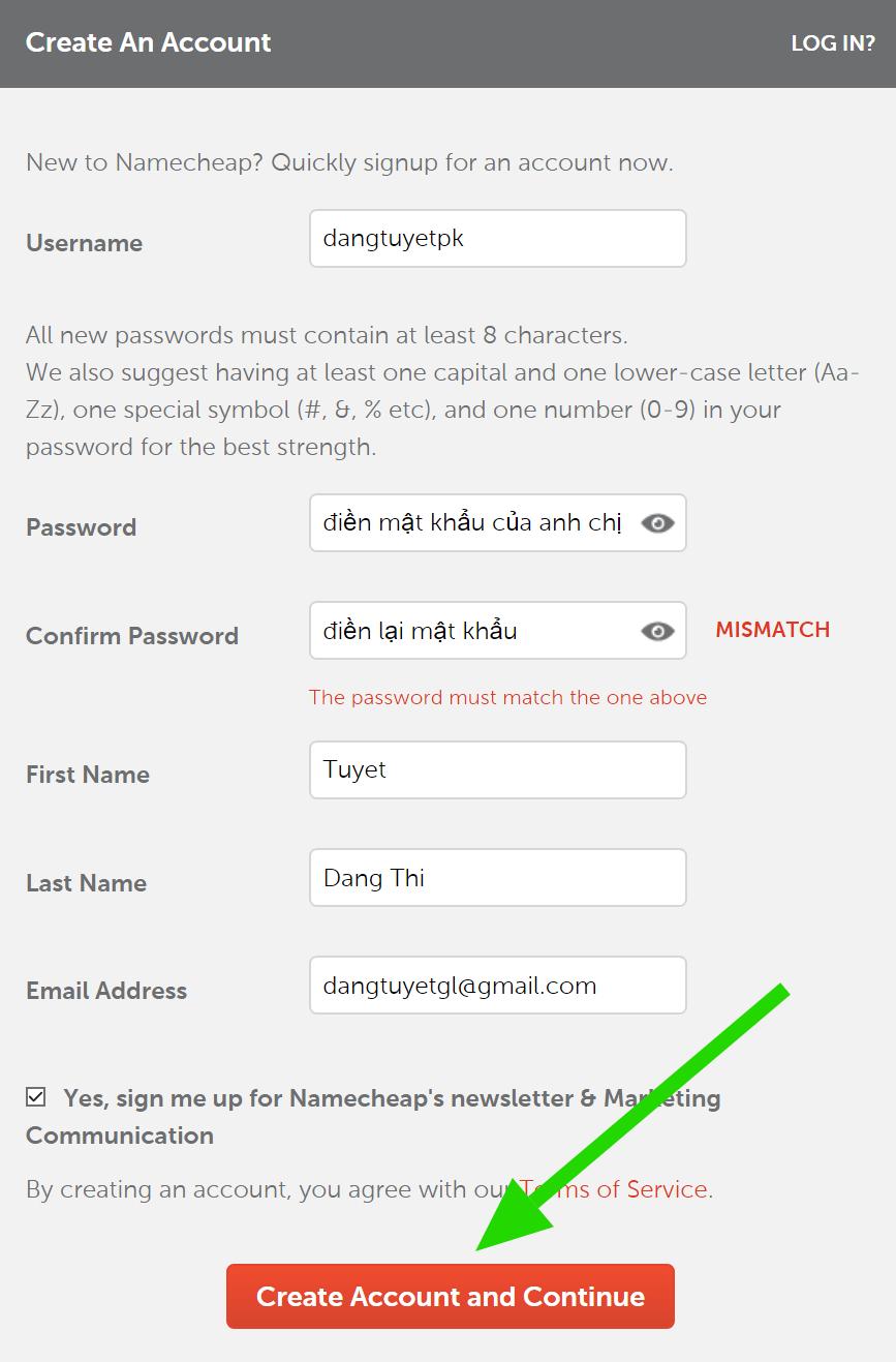 Form đăng ký Namecheap