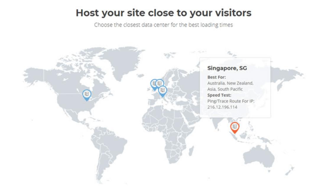 Các vị trí hosting siteground