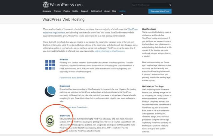 hosting siteground được đề xuất bởi wordpress