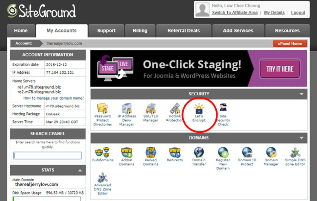 cpanel của hosting siteground