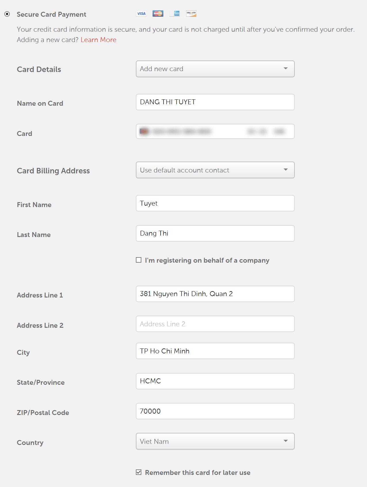 form thanh toán mua tên miền Namecheap
