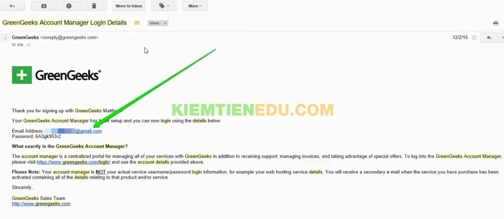 Email tài khoản đăng nhập GreenGeeks hosting