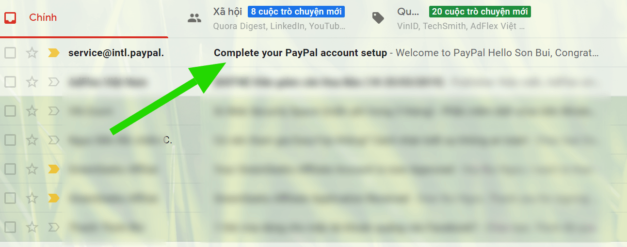 Email Paypal gửi về