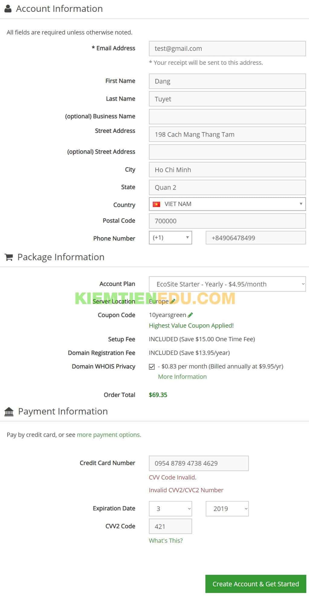 Trang thanh toán GreenGeeks hosting