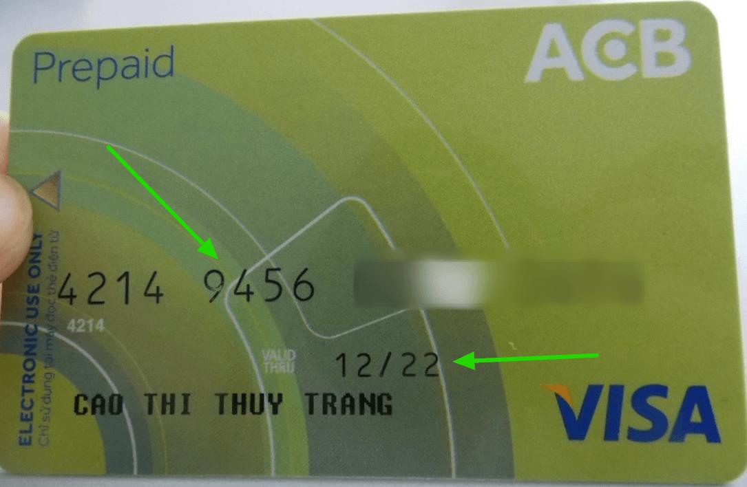 Thẻ Visa debit ngân hàng ACB (mặt trước)