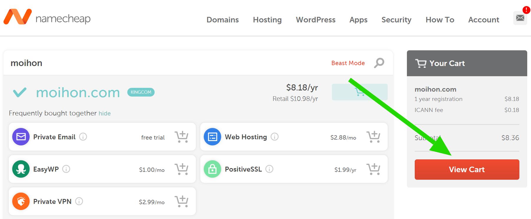 thanh toán domain namecheap