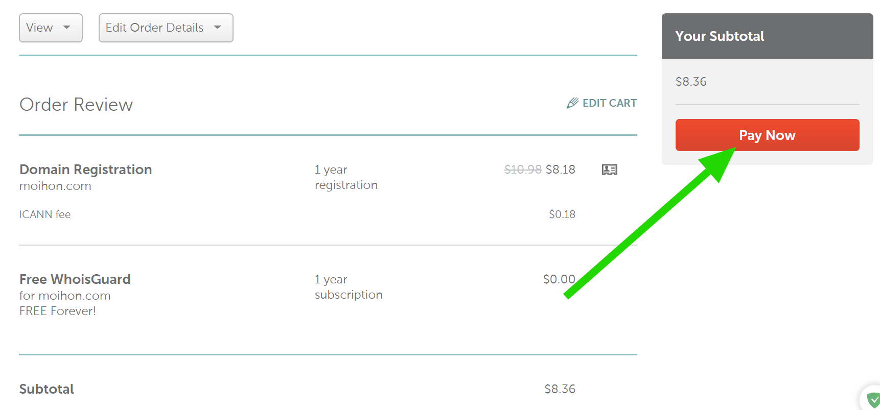 Nút Paynow: thanh toán mua domain