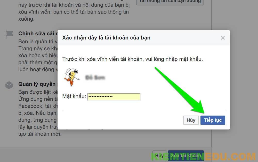 Xác nhận xóa tài khoản Facebook