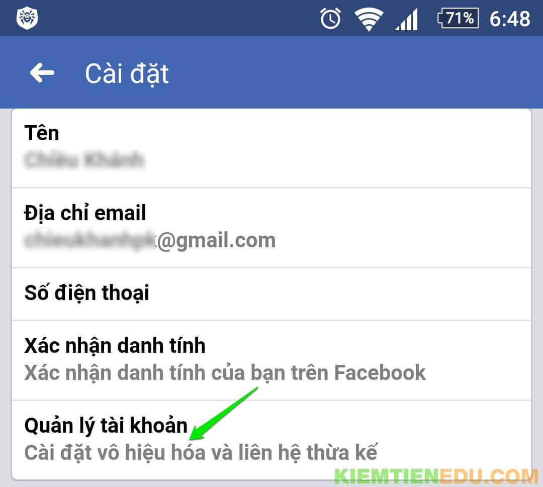 Vô hiệu hóa Facebook tạm thời bằng điện thoại