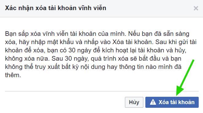 Xác nhận xóa tài khoản Facebook Vĩnh viễn 1 lần nữa